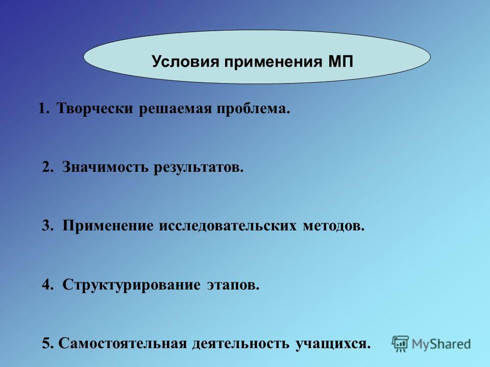 Условия применения МП 1.Творчески решаемая проблема. 2. Значимость результатов. 3. Применение исследовательских методов. 4. Структурирование этапов. 5. Самостоятельная деятельность учащихся.