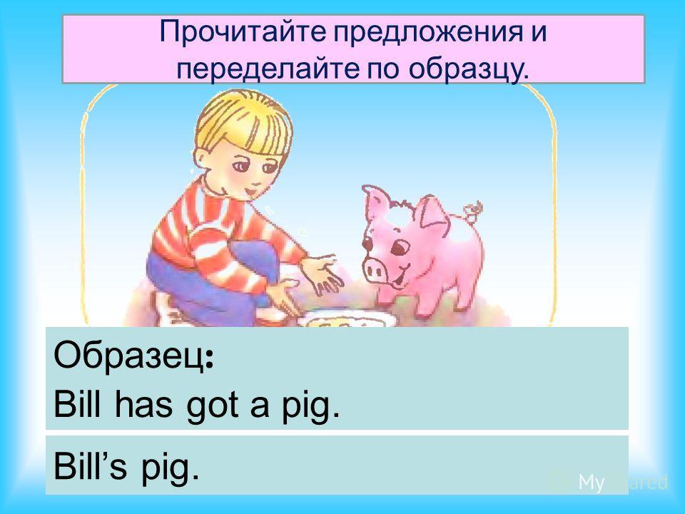 Образец : Bill has got a pig. Bills pig. Прочитайте предложения и переделайте по образцу.