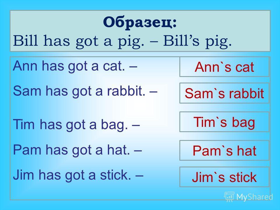 Образец: Bill has got a pig. – Bills pig. Ann has got a cat. – Sam has got a rabbit. – Tim has got a bag. – Pam has got a hat. – Jim has got a stick. – Ann`s cat Sam`s rabbit Tim`s bag Pam`s hat Jim`s stick