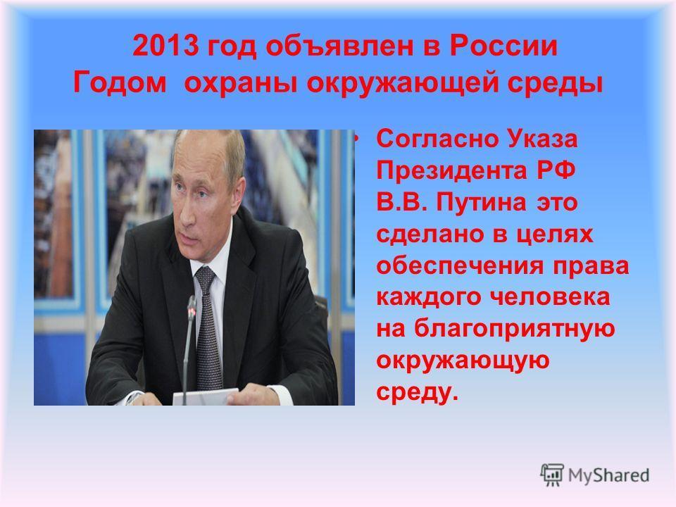 2013 год объявлен в России Годом охраны окружающей среды Согласно Указа Президента РФ В.В. Путина это сделано в целях обеспечения права каждого человека на благоприятную окружающую среду.