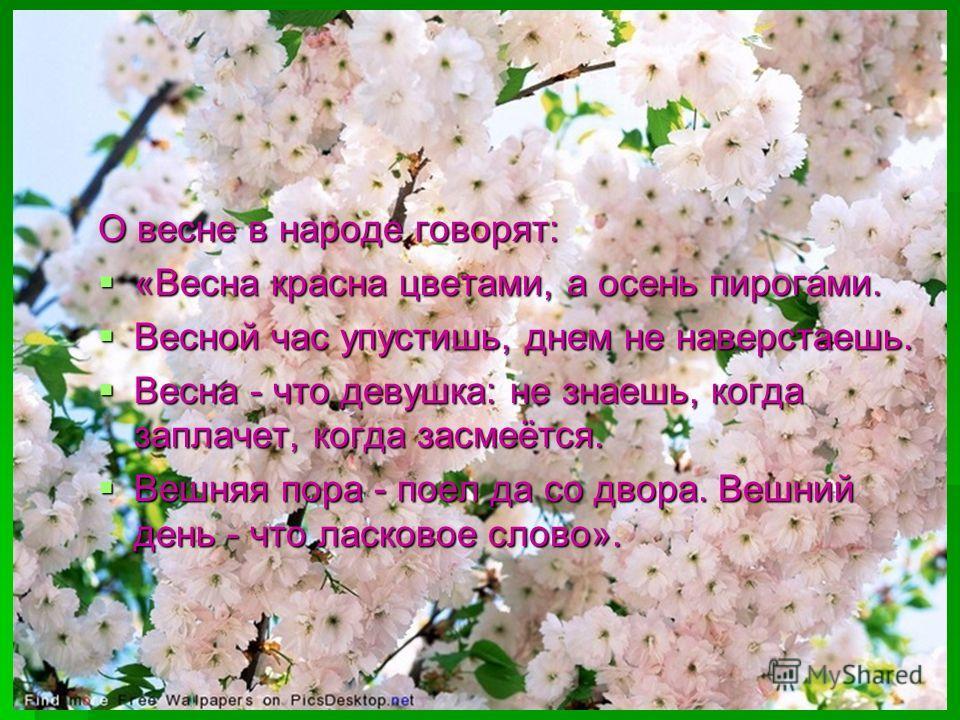 О весне в народе говорят: «Весна красна цветами, а осень пирогами. «Весна красна цветами, а осень пирогами. Весной час упустишь, днем не наверстаешь. Весной час упустишь, днем не наверстаешь. Весна - что девушка: не знаешь, когда заплачет, когда засм