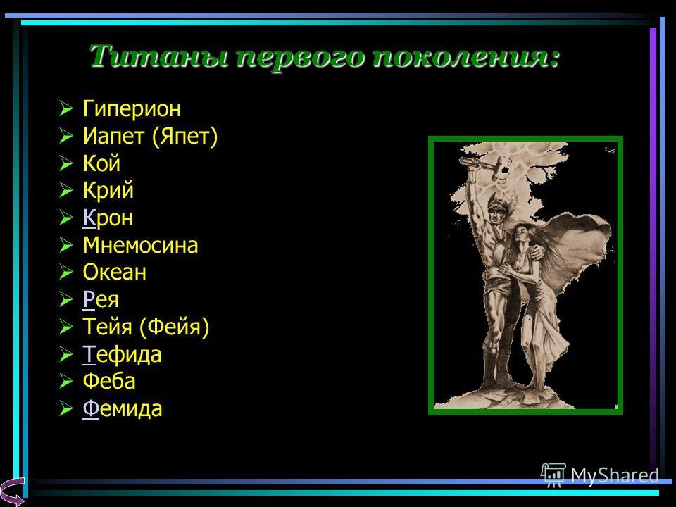Титаны первого поколения: Гиперион Иапет (Япет) Кой Крий Крон К Мнемосина Океан Рея Р Тейя (Фейя) Тефида Т Феба Фемида Ф