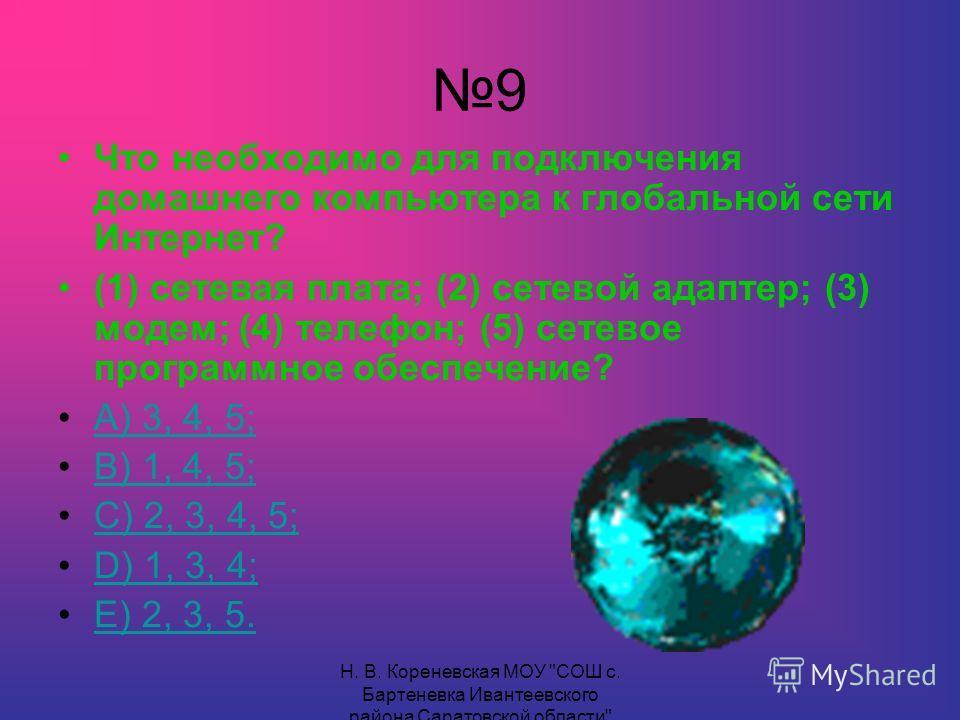 9 Что необходимо для подключения домашнего компьютера к глобальной сети Интернет? (1) сетевая плата; (2) сетевой адаптер; (3) модем; (4) телефон; (5) сетевое программное обеспечение? А) 3, 4, 5; В) 1, 4, 5; С) 2, 3, 4, 5; D) 1, 3, 4;D) 1, 3, 4; Е) 2,