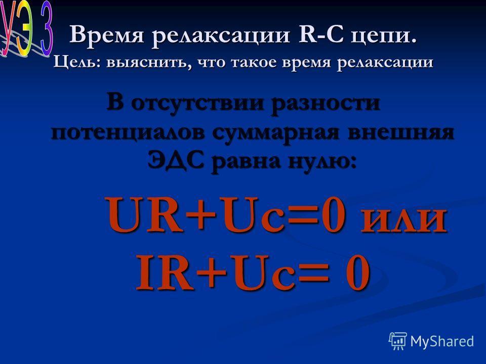 Время релаксации R-C цепи. Цель: выяснить, что такое время релаксации В отсутствии разности потенциалов суммарная внешняя ЭДС равна нулю: UR+Uc=0 или IR+Uc= 0 UR+Uc=0 или IR+Uc= 0