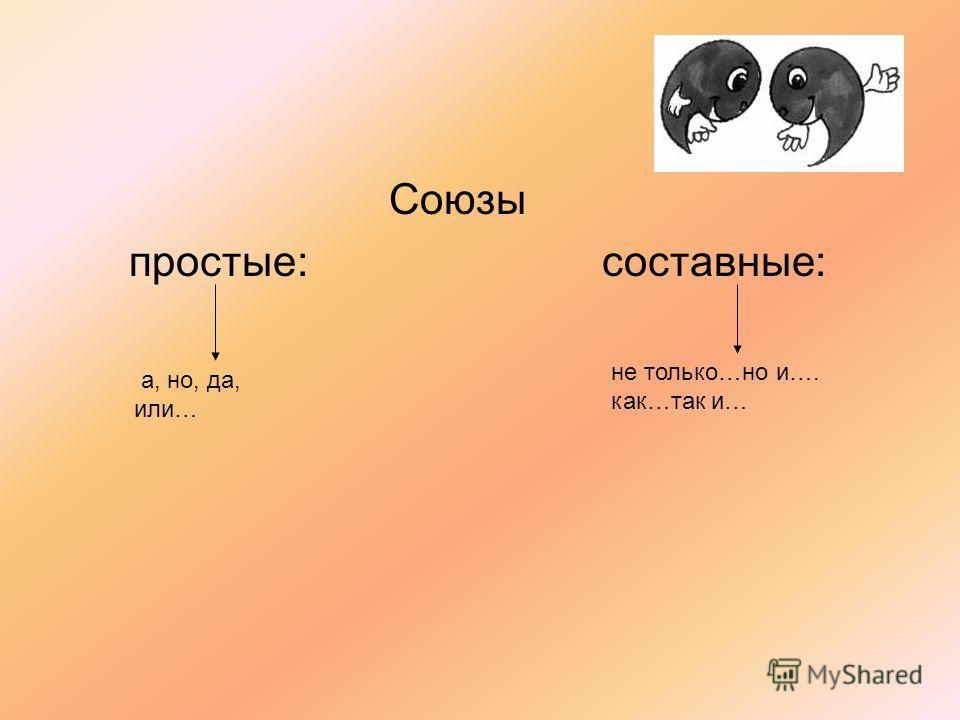 Союзы простые: составные: а, но, да, или… не только…но и…. как…так и…