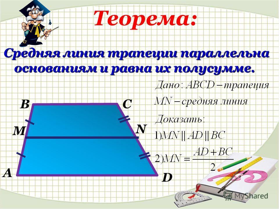 Теорема: Средняя линия трапеции параллельна основаниям и равна их полусумме. В А С D M N