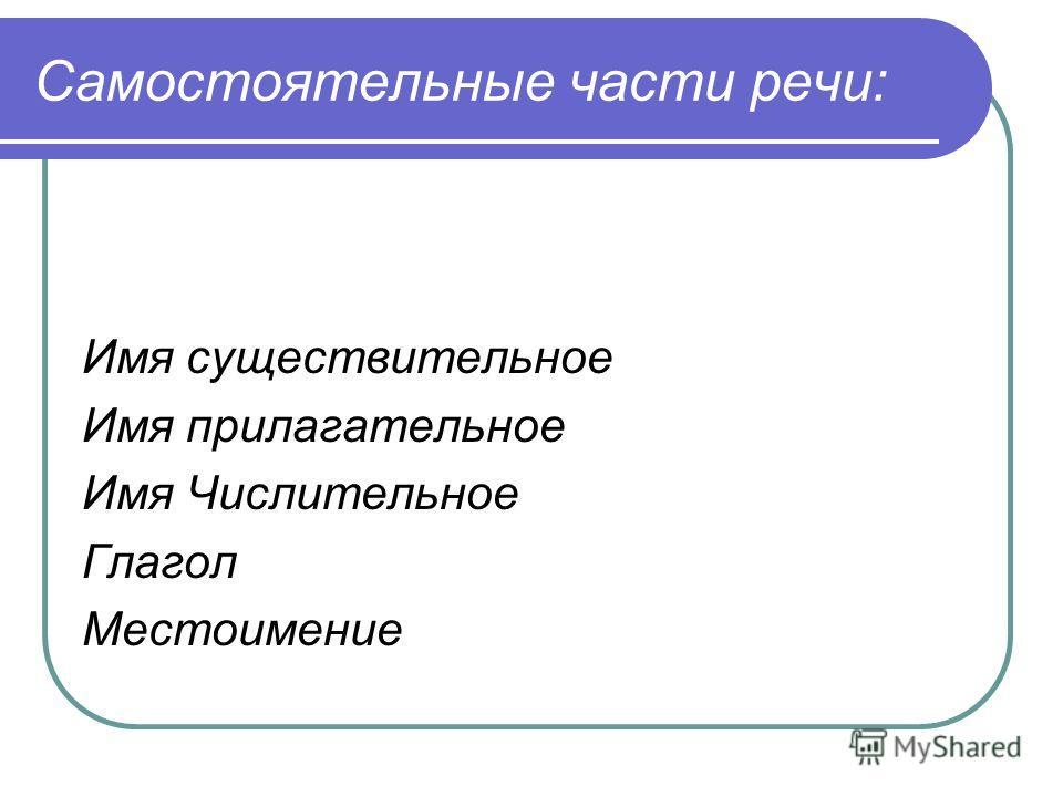 Самостоятельные части речи: Имя существительное Имя прилагательное Имя Числительное Глагол Местоимение