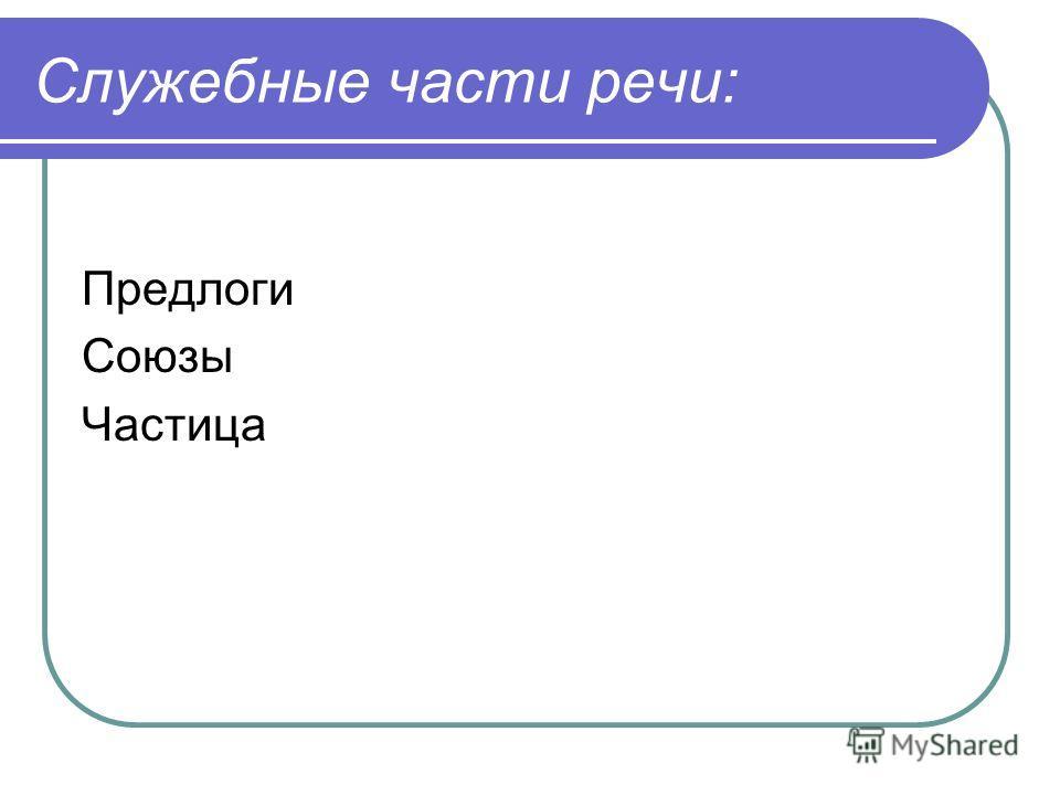 Служебные части речи: Предлоги Союзы Частица