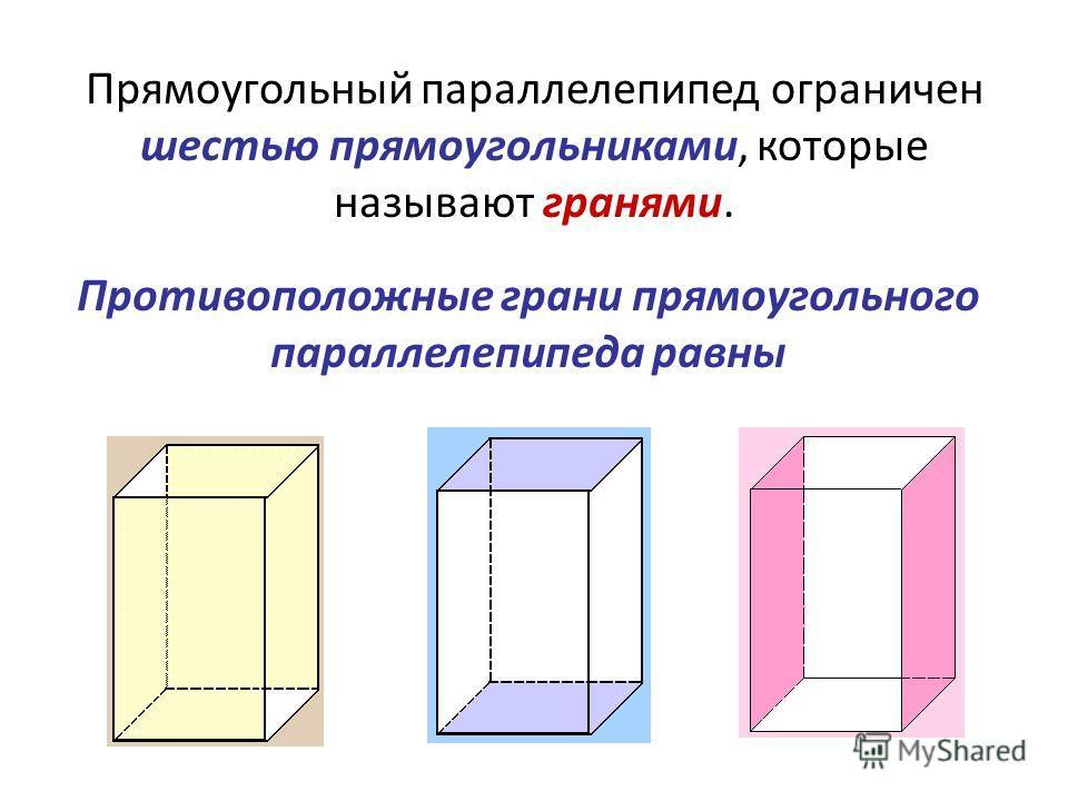 Прямоугольный параллелепипед ограничен шестью прямоугольниками, которые называют гранями. Противоположные грани прямоугольного параллелепипеда равны