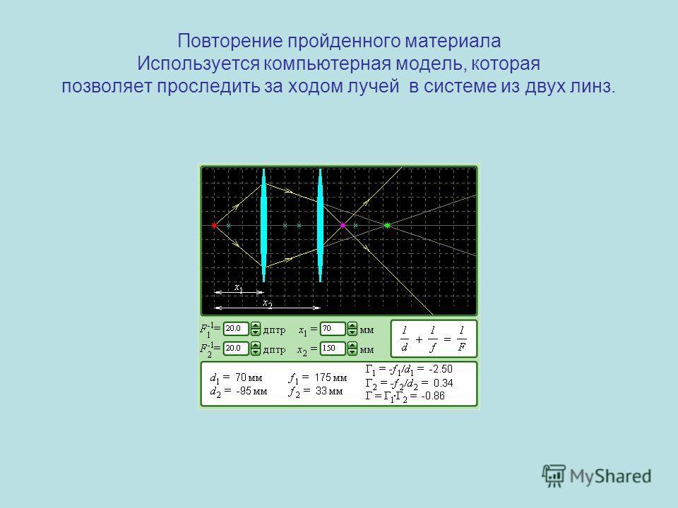 Повторение пройденного материала Используется компьютерная модель, которая позволяет проследить за ходом лучей в системе из двух линз.