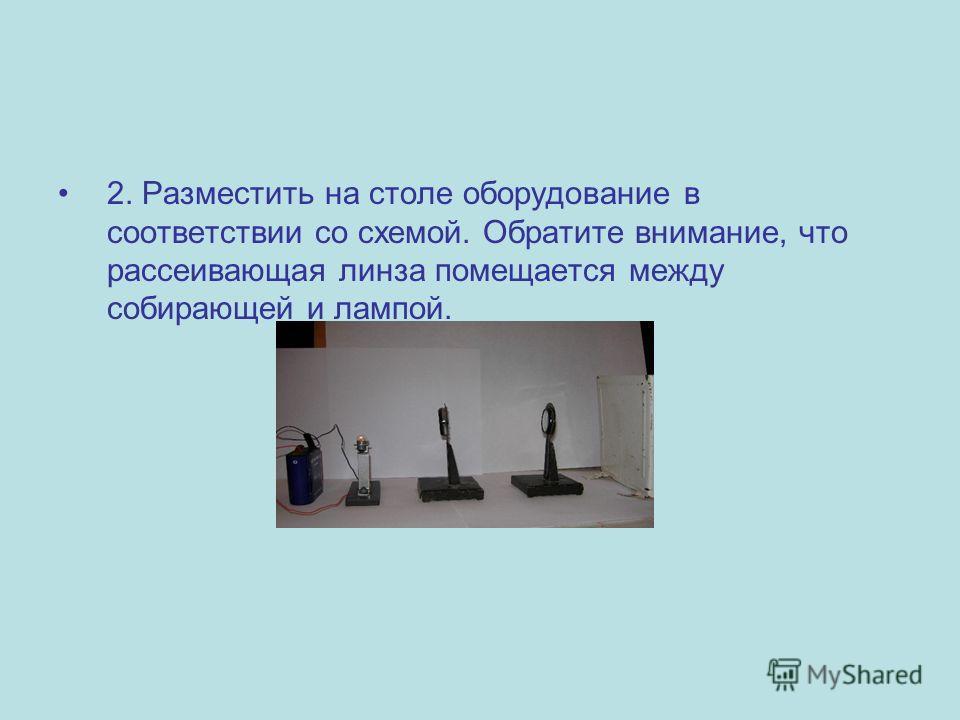 2. Разместить на столе оборудование в соответствии со схемой. Обратите внимание, что рассеивающая линза помещается между собирающей и лампой.
