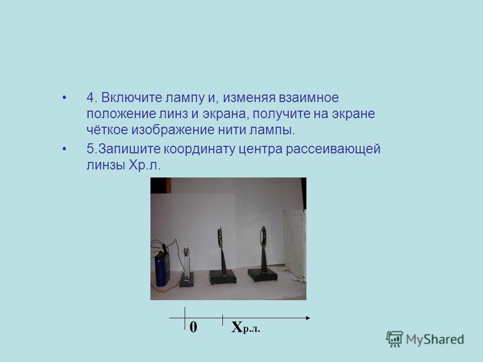 4. Включите лампу и, изменяя взаимное положение линз и экрана, получите на экране чёткое изображение нити лампы. 5.Запишите координату центра рассеивающей линзы Хр.л. Х р.л. 0