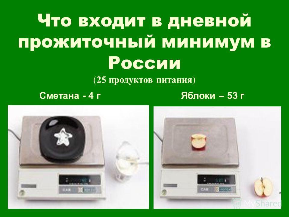 Что входит в дневной прожиточный минимум в России (25 продуктов питания) Сметана - 4 гЯблоки – 53 г