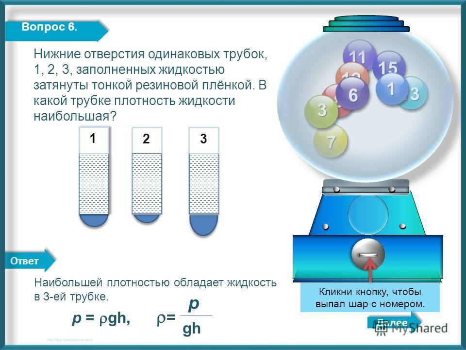 Ответ 11 12 13 15 8 7 3 1 Далее http://edu-teacherzv.ucoz.ru Кликни кнопку, чтобы выпал шар с номером. 6 Вопрос 6. Наибольшей плотностью обладает жидкость в 3-ей трубке. р = gh, = р gh