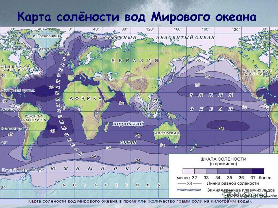 Карта солёности вод Мирового