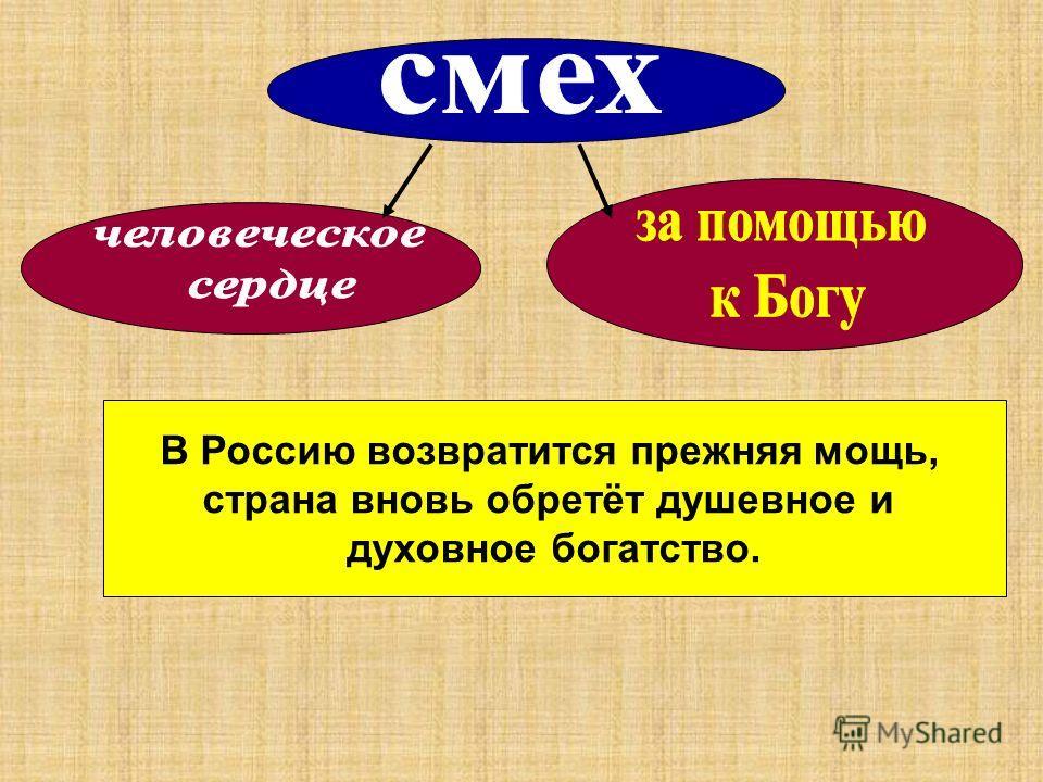 В Россию возвратится прежняя мощь, страна вновь обретёт душевное и духовное богатство.