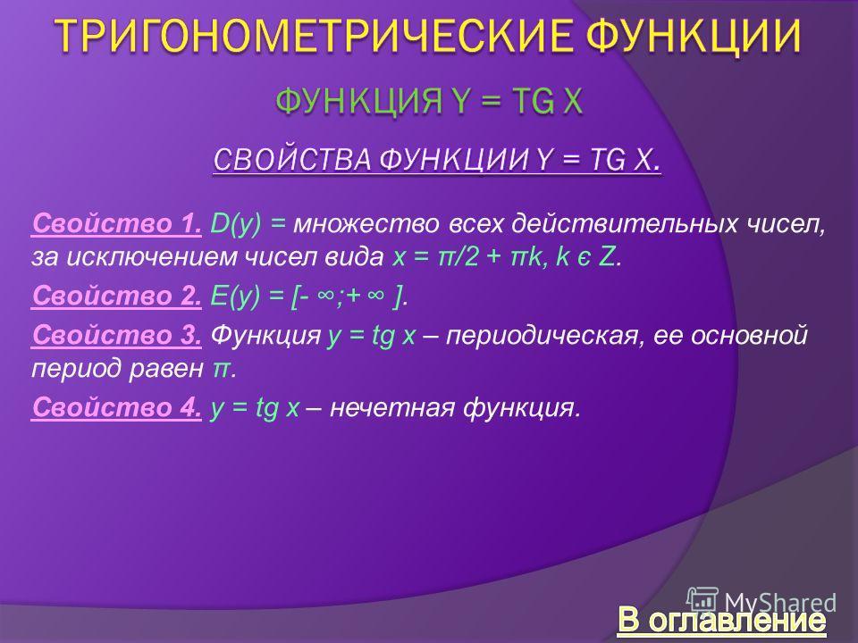 Свойство 1. D(y) = множество всех действительных чисел, за исключением чисел вида x = π/2 + πk, k є Z. Свойство 2. E(y) = [- ;+ ]. Свойство 3. Функция y = tg x – периодическая, ее основной период равен π. Свойство 4. y = tg x – нечетная функция.