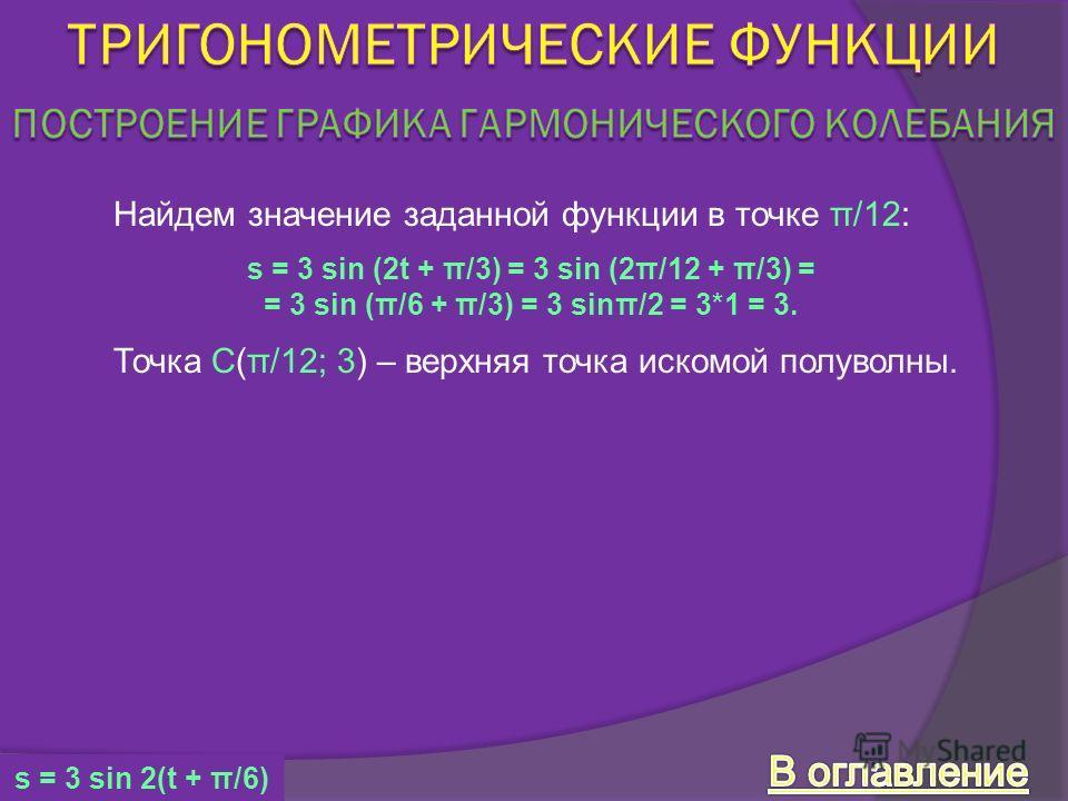 Найдем значение заданной функции в точке π/12: Точка C(π/12; 3) – верхняя точка искомой полуволны. s = 3 sin (2t + π/3) = 3 sin (2π/12 + π/3) = = 3 sin (π/6 + π/3) = 3 sinπ/2 = 3*1 = 3. s = 3 sin 2(t + π/6)