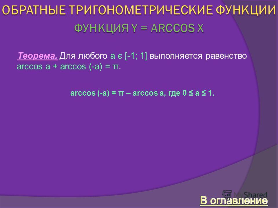 Теорема. Для любого a є [-1; 1] выполняется равенство arccos a + arccos (-a) = π. arccos (-a) = π – arccos a, где 0 a 1.