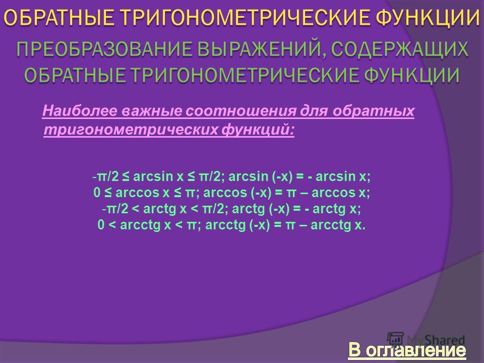 Наиболее важные соотношения для обратных тригонометрических функций: -π/2 arcsin x π/2; arcsin (-x) = - arcsin x; 0 arccos x π; arccos (-x) = π – arccos x; -π/2 < arctg x < π/2; arctg (-x) = - arctg x; 0 < arcctg x < π; arcctg (-x) = π – arcctg x.