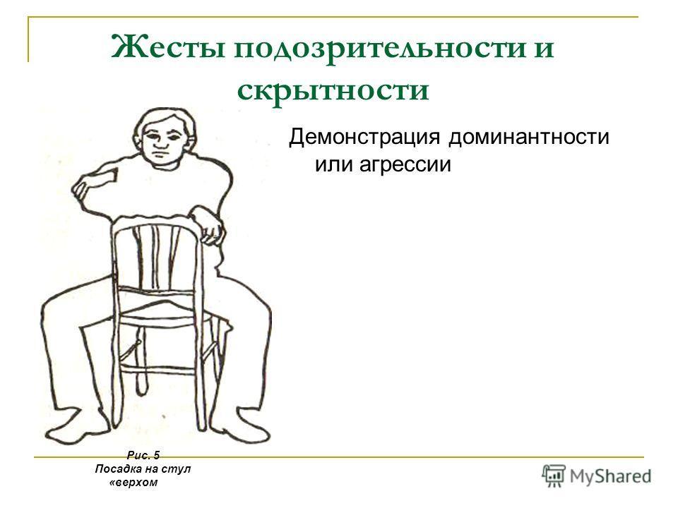 Жесты подозрительности и скрытности Демонстрация доминантности или агрессии Рис. 5 Посадка на стул «верхом