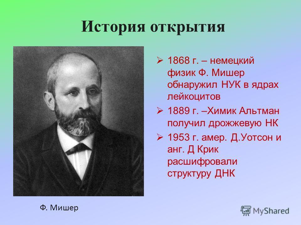 История открытия 1868 г. – немецкий физик Ф. Мишер обнаружил НУК в ядрах лейкоцитов 1889 г. –Химик Альтман получил дрожжевую НК 1953 г. амер. Д.Уотсон и анг. Д Крик расшифровали структуру ДНК Ф. Мишер