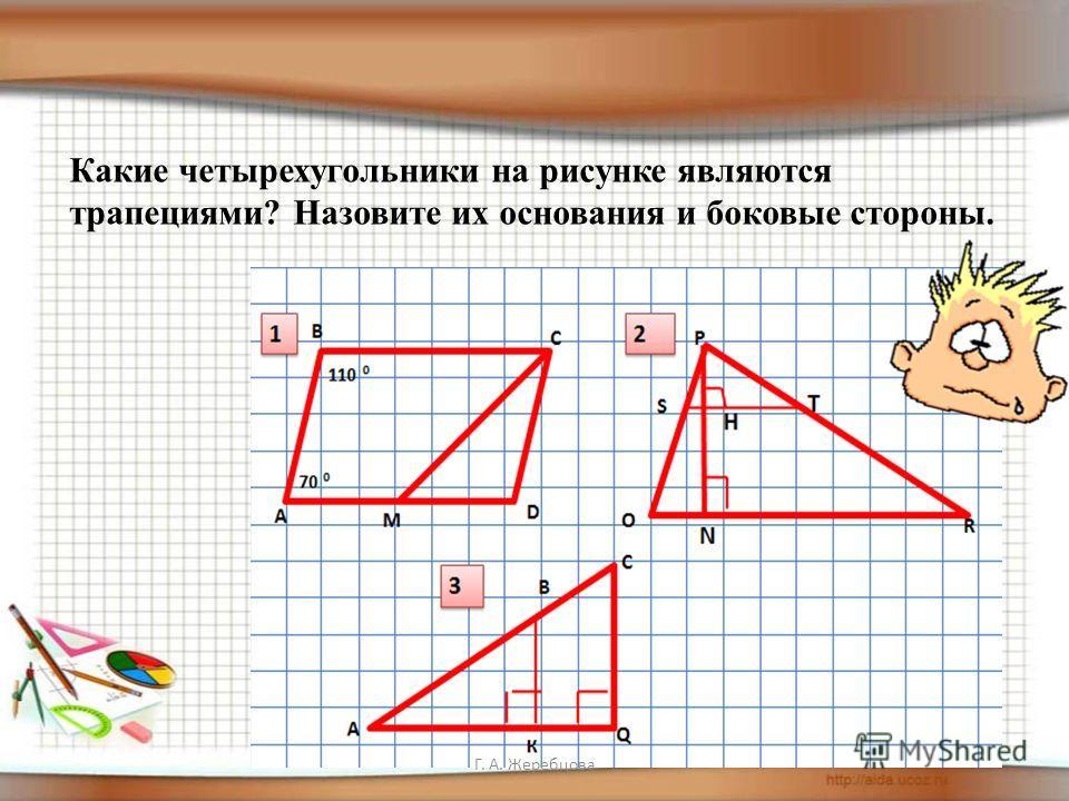 Какие четырехугольники на рисунке являются трапециями? Назовите их основания и боковые стороны.