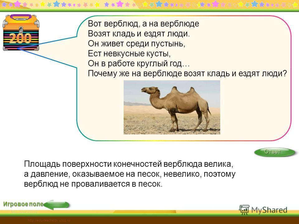 Ответ http://edu-teacherzv.ucoz.ru Игровое поле Вот верблюд, а на верблюде Возят кладь и ездят люди. Он живет среди пустынь, Ест невкусные кусты, Он в работе круглый год… Почему же на верблюде возят кладь и ездят люди? Площадь поверхности конечностей