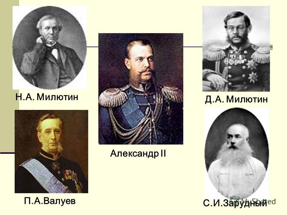 Александр II Н.А. Милютин Д.А. Милютин П.А.Валуев С.И.Зарудный