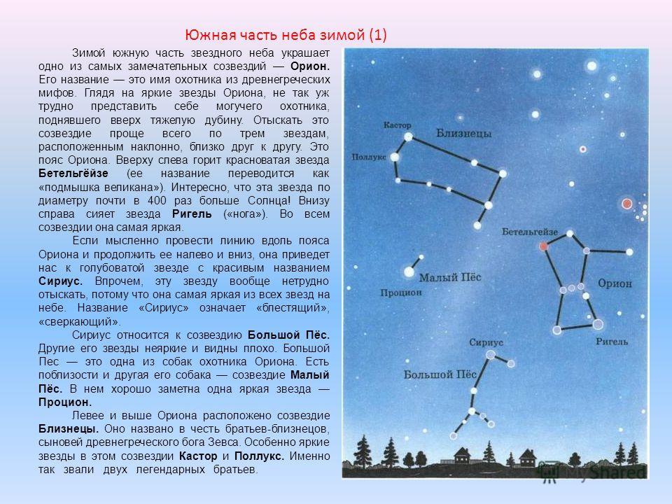 Зимой южную часть звездного неба украшает одно из самых замечательных созвездий Орион. Его название это имя охотника из древнегреческих мифов. Глядя на яркие звезды Ориона, не так уж трудно представить себе могучего охотника, поднявшего вверх тяжелую