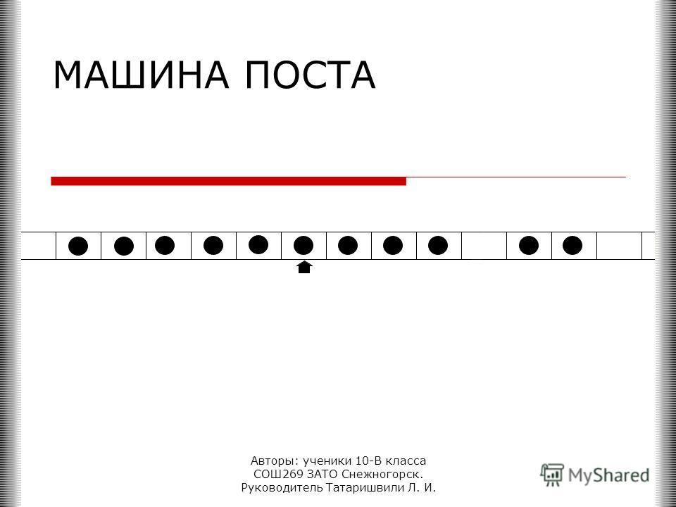 Авторы: ученики 10-В класса СОШ269 ЗАТО Снежногорск. Руководитель Татаришвили Л. И. МАШИНА ПОСТА