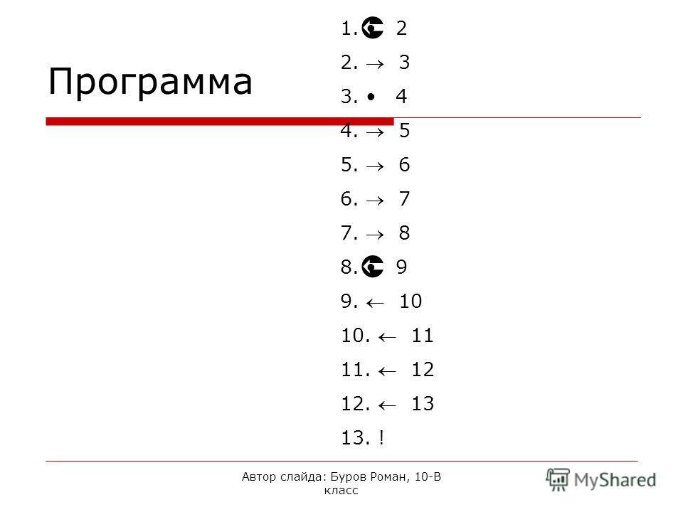 Автор слайда: Буров Роман, 10-В класс Программа 1. 2 2. 3 3. 4 4. 5 5. 6 6. 7 7. 8 8. 9 9. 10 10. 11 11. 12 12. 13 13. !