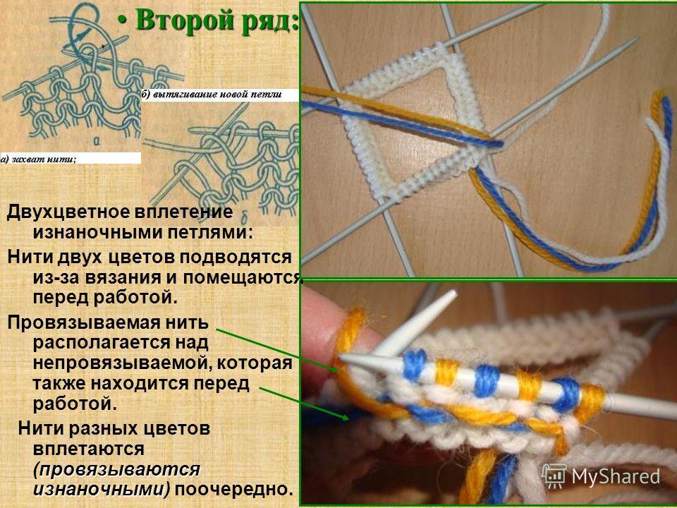 Второй ряд: Второй ряд: Двухцветное вплетение изнаночными петлями: Нити двух цветов подводятся из-за вязания и помещаются перед работой. Провязываемая нить располагается над непровязываемой, которая также находится перед работой. провязываются изнано