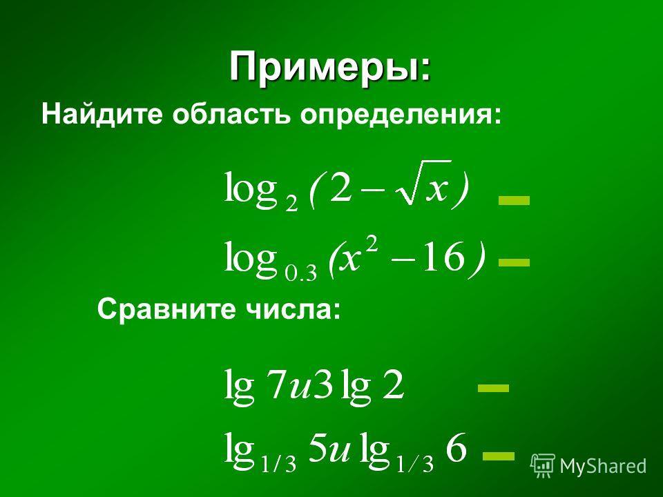 Примеры: Найдите область определения: Сравните числа: