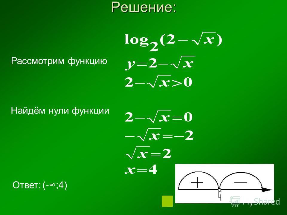 Решение: Рассмотрим функцию Найдём нули функции Ответ:(-;4)