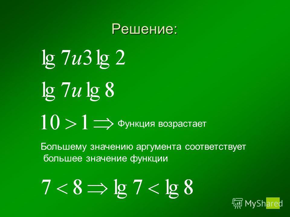Решение: Большему значению аргумента соответствует большее значение функции Функция возрастает