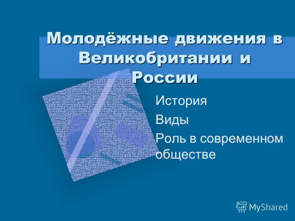 Молодёжные движения в Великобритании и России История Виды Роль в современном обществе