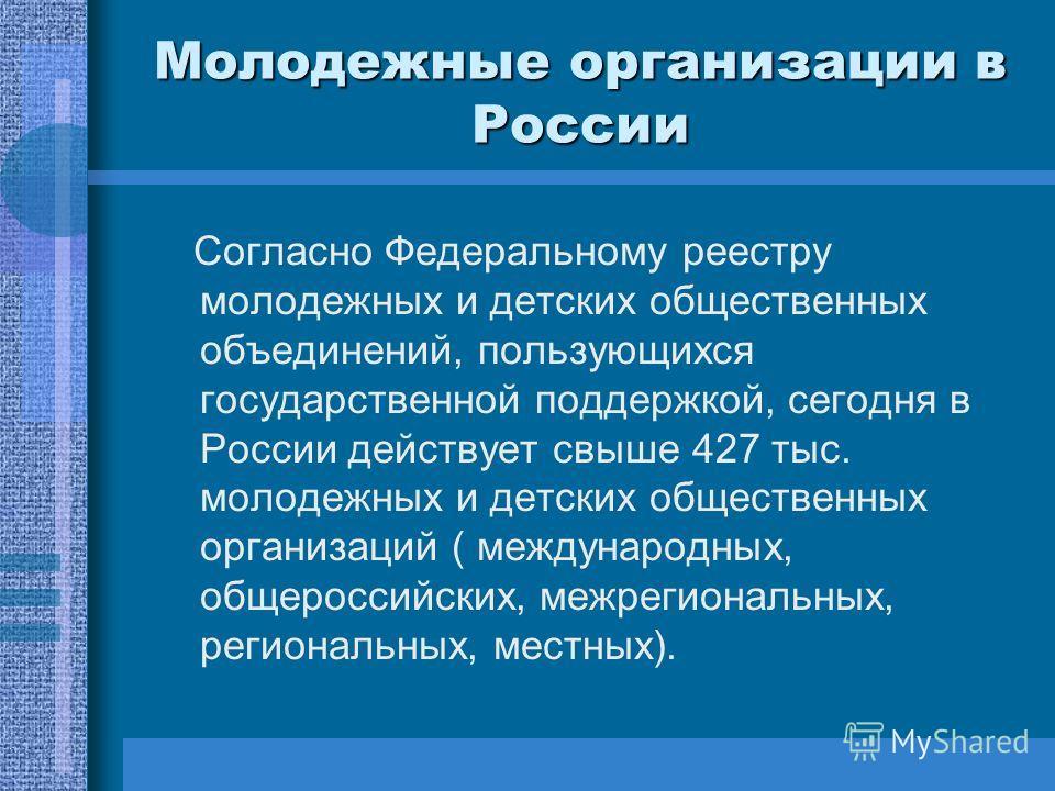 Молодежные организации в России Согласно Федеральному реестру молодежных и детских общественных объединений, пользующихся государственной поддержкой, сегодня в России действует свыше 427 тыс. молодежных и детских общественных организаций ( международ