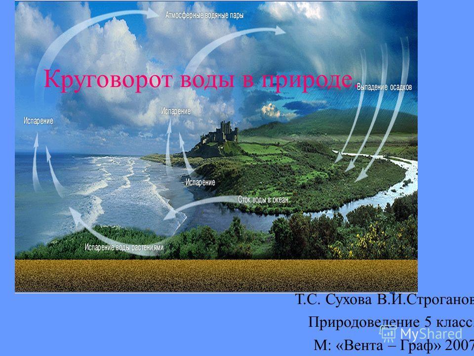 Круговорот воды в природе. Т.С. Сухова В.И.Строганов Природоведение 5 класс. М: «Вента – Граф» 2007