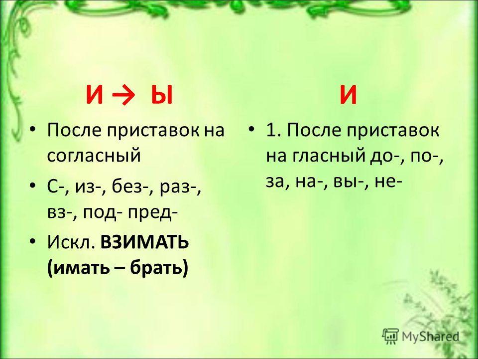 И Ы После приставок на согласный С-, из-, без-, раз-, вз-, под- пред- Искл. ВЗИМАТЬ (имать – брать) И 1. После приставок на гласный до-, по-, за, на-, вы-, не-