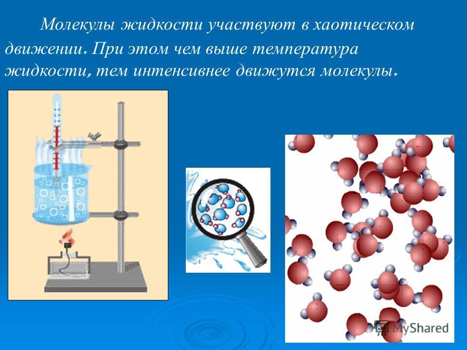 М олекулы жидкости участвуют в хаотическом движении. При этом чем выше температура жидкости, тем интенсивнее движутся молекулы.