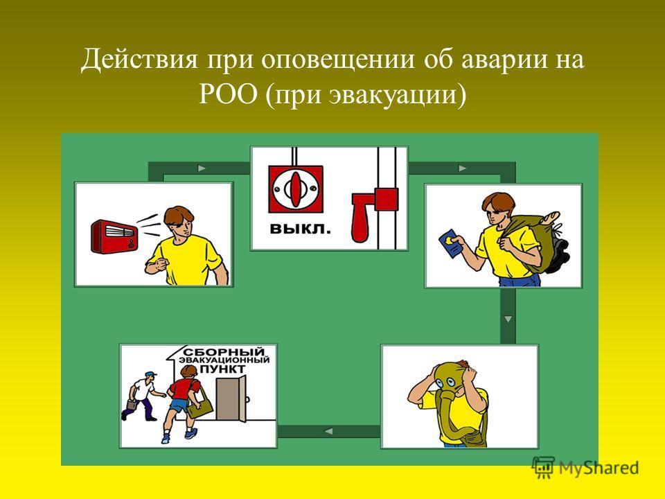 Действия при оповещении об аварии на РОО (при эвакуации)
