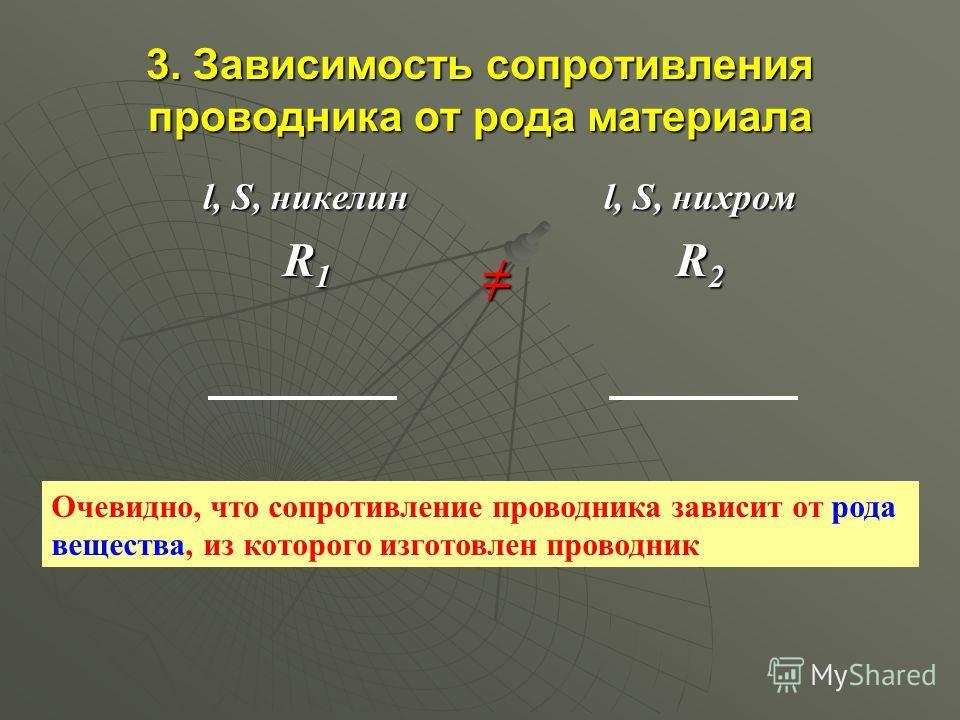 3. Зависимость сопротивления проводника от рода материала l, S, никелин R 1 R 1 l, S, нихром R2R2R2R2 Очевидно, что сопротивление проводника зависит от рода вещества, из которого изготовлен проводник