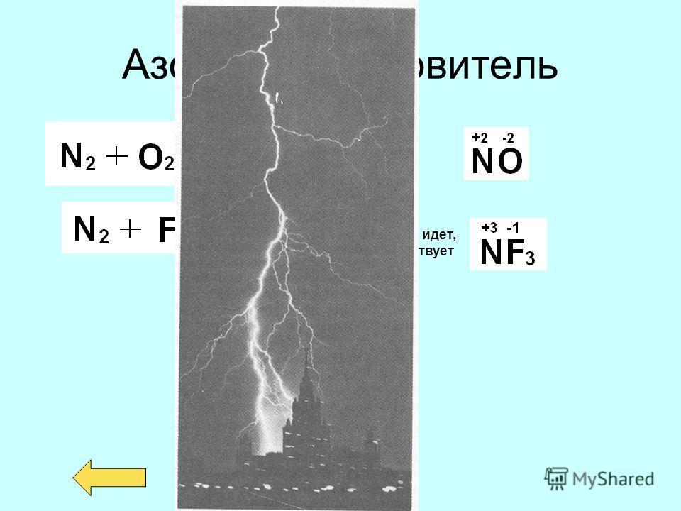 Азот - восстановитель Реакция на прямую не идет, но соединение существует