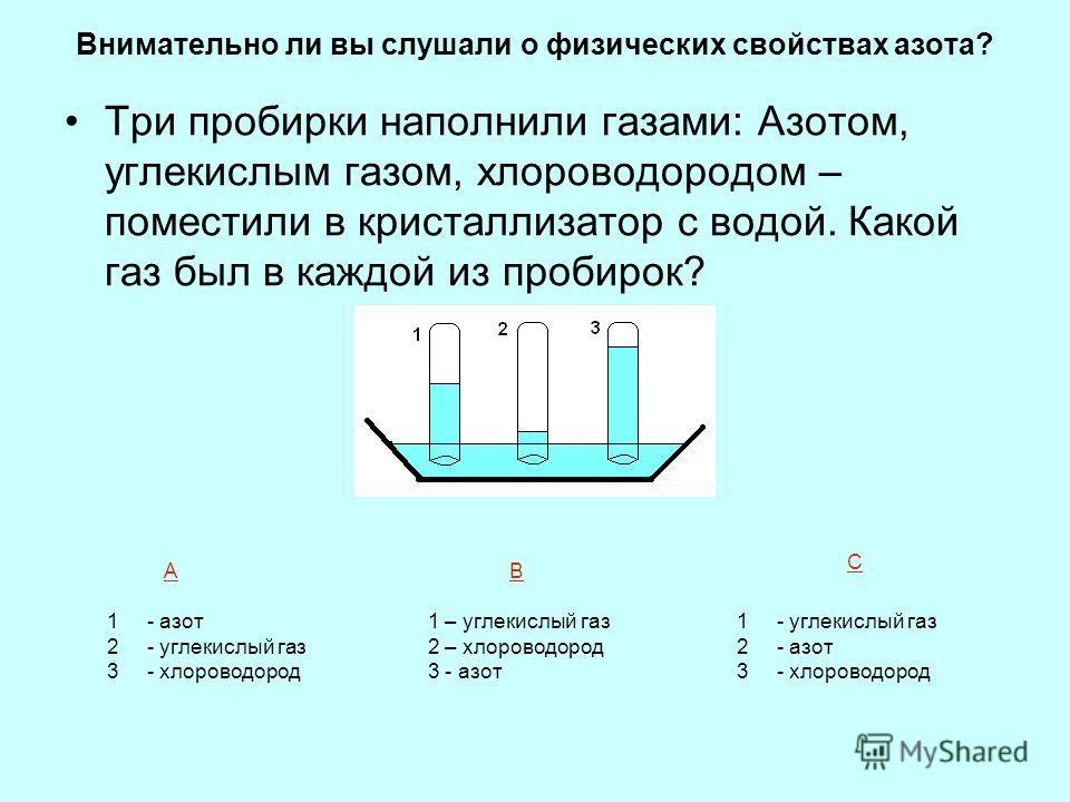Внимательно ли вы слушали о физических свойствах азота? Три пробирки наполнили газами: Азотом, углекислым газом, хлороводородом – поместили в кристаллизатор с водой. Какой газ был в каждой из пробирок? 1- азот 2- углекислый газ 3- хлороводород 1 – уг