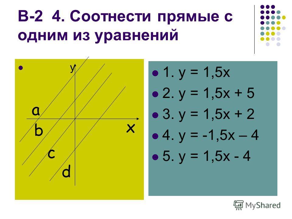 В-2 4. Соотнести прямые с одним из уравнений y x a b c d 1. y = 1,5x 2. y = 1,5x + 5 3. y = 1,5x + 2 4. y = -1,5x – 4 5. y = 1,5x - 4