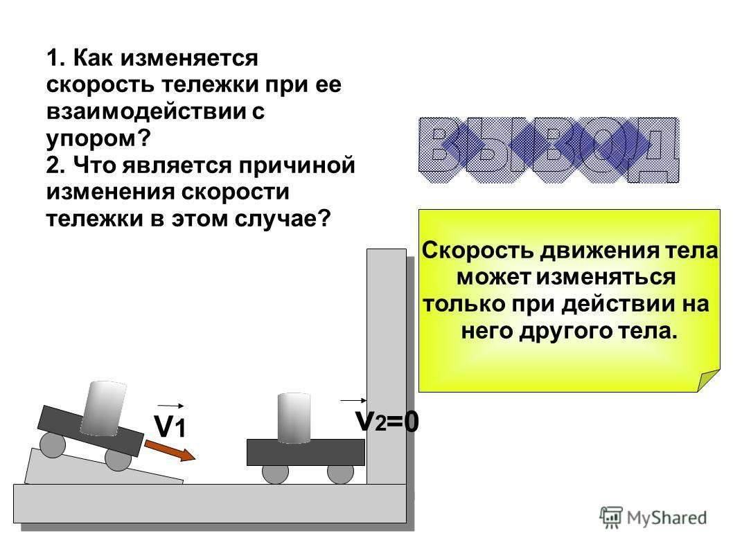 V1V1 v2v2 =0 1. Как изменяется скорость тележки при ее взаимодействии с упором? 2. Что является причиной изменения скорости тележки в этом случае? Скорость движения тела может изменяться только при действии на него другого тела.