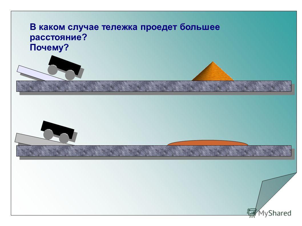 В каком случае тележка проедет большее расстояние? Почему?