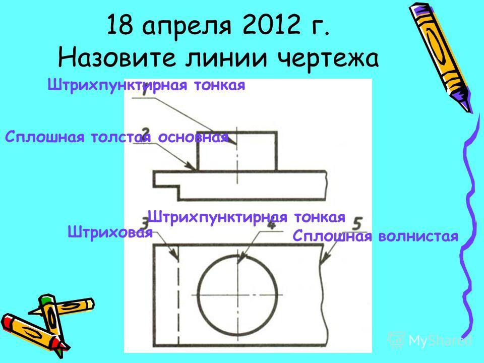 18 апреля 2012 г. Назовите линии чертежа Штрихпунктирная тонкая Сплошная толстая основная Штриховая Штрихпунктирная тонкая Сплошная волнистая