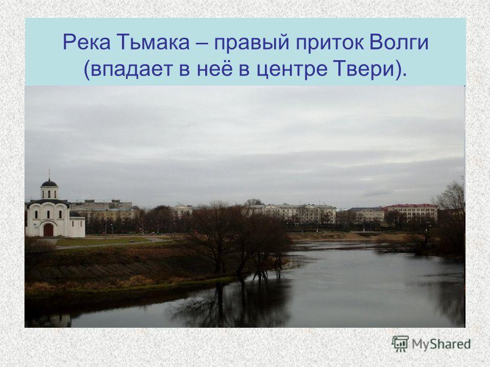 Река Тьмака – правый приток Волги (впадает в неё в центре Твери).